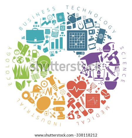 Business, technology and science icons infographics pie chart. - stock photo
