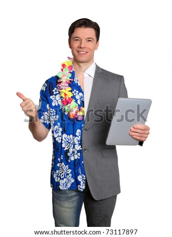 Business technology and tropical vacation - stock photo