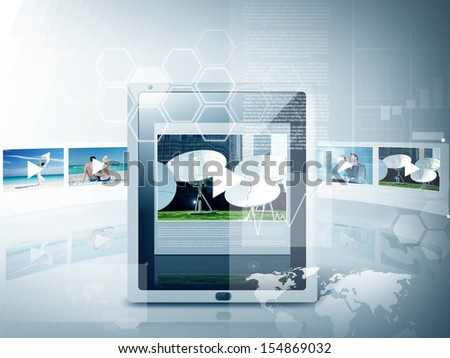 business, technology and video concept - illustration of tablet pc with video player app - stock photo