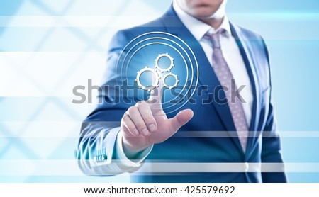 business, technology, automation and internet concept - businessman pressing mechanism button on virtual screens. Template for text. - stock photo