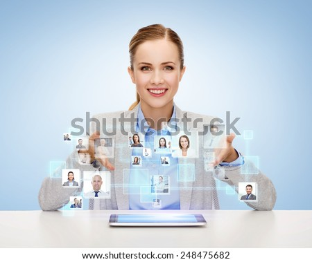 business, technology, cooperation, people and hiring concept - smiling businesswoman with tablet pc computer over blue background with icons of contacts - stock photo