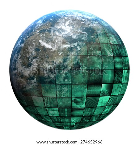 Business Technology Global Network with Futuristic Art - stock photo