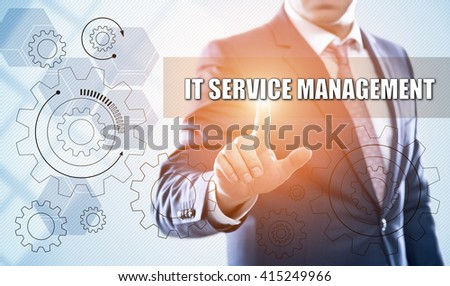 business, technology, information technology, internet and virtual reality concept - businessman pressing it service management button on virtual screens with hexagons and transparent honeycomb - stock photo