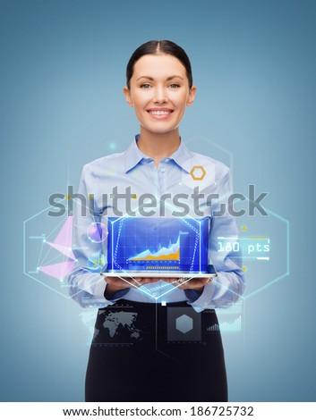 business, technology, internet and education concept - friendly young smiling businesswoman with tablet pc computer and virtual screen - stock photo