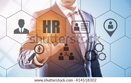 business, technology, internet and human resources concept. Businessman pressing hr button on virtual screens with hexagons and transparent honeycomb - stock photo