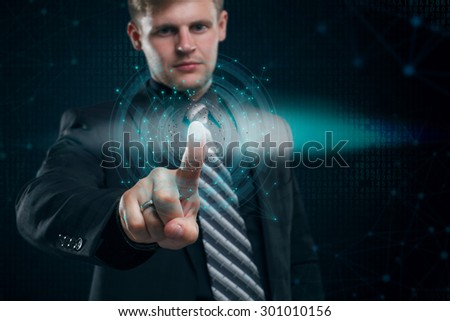 business, technology, internet and networking concept - businessman presses a button  security on the virtual screen - stock photo