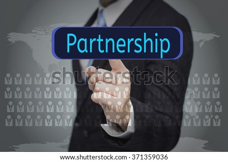 business, technology, internet and networking concept - businessman pressing button on virtual screens,Partnership button - stock photo