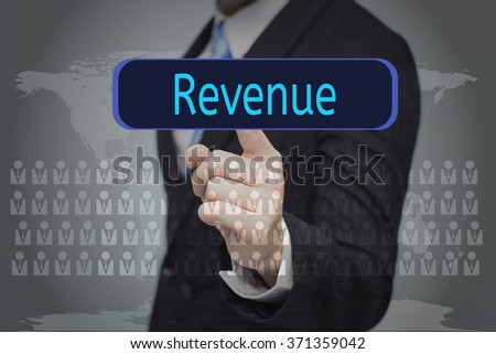 business, technology, internet and networking concept - businessman pressing button on virtual screens,Revenue button - stock photo