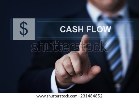 business, technology, internet and networking concept - businessman pressing cash flow button on virtual screens - stock photo