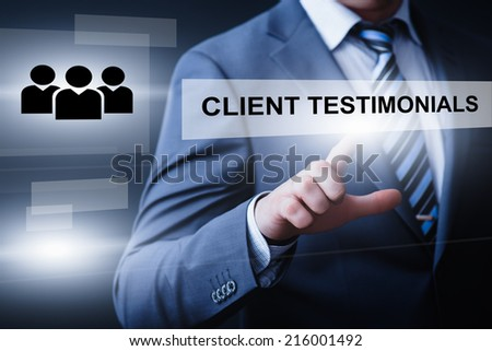 business, technology, internet and networking concept - businessman pressing client testimonials button on virtual screens - stock photo