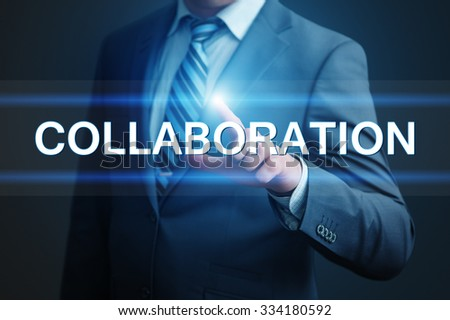 business, technology, internet and networking concept - businessman pressing collaboration button on virtual screens