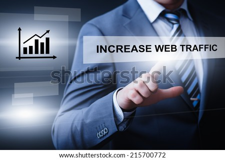 business, technology, internet and networking concept - businessman pressing increase web traffic button on virtual screens