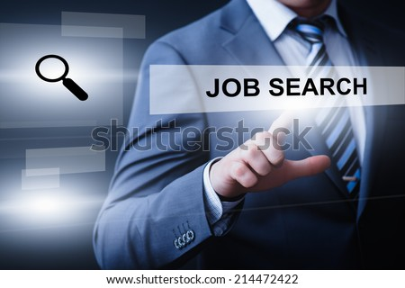 business, technology, internet and networking concept - businessman pressing job search button on virtual screens - stock photo