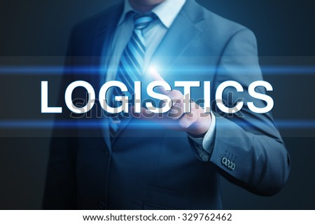 business, technology, internet and networking concept - businessman pressing logistics button on virtual screens - stock photo