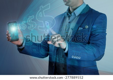 business, technology, internet and networking concept - businessman pressing make money button on virtual screens - stock photo