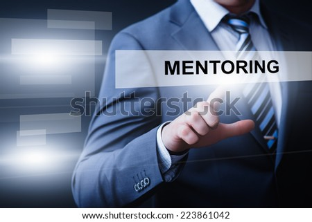 business, technology, internet and networking concept - businessman pressing mentoring button on virtual screens - stock photo