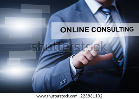 business, technology, internet and networking concept - businessman pressing online consulting button on virtual screens - stock photo