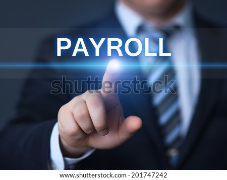 business, technology, internet and networking concept - businessman pressing payroll button on virtual screens - stock photo