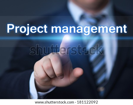 business, technology, internet and networking concept - businessman pressing Project Management button on virtual screens - stock photo