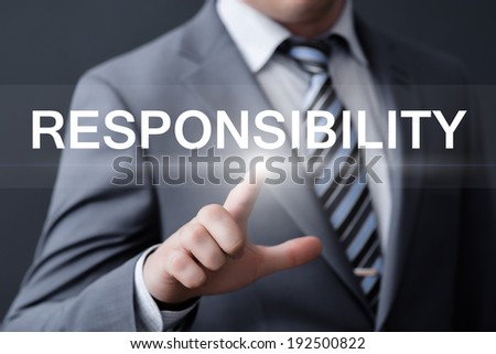 business, technology, internet and networking concept - businessman pressing responsibility button on virtual screens - stock photo