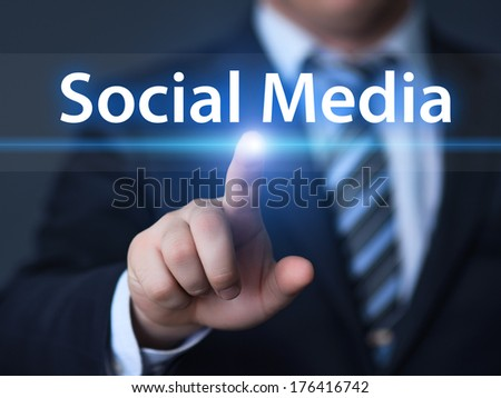 business, technology, internet and networking concept - businessman pressing social media button on virtual screens - stock photo