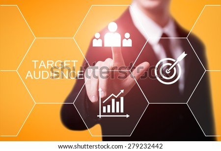 business, technology, internet and networking concept - businessman pressing target audience button on virtual screens - stock photo