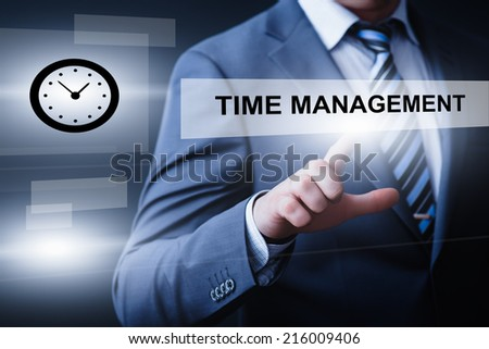 business, technology, internet and networking concept - businessman pressing time management button on virtual screens - stock photo