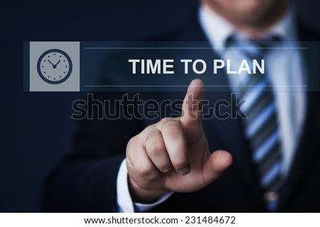 business, technology, internet and networking concept - businessman pressing time to plan button on virtual screens - stock photo