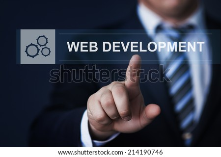 business, technology, internet and networking concept - businessman pressing web development button on virtual screens - stock photo