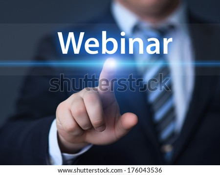 business, technology, internet and networking concept - businessman pressing webinar button on virtual screens - stock photo
