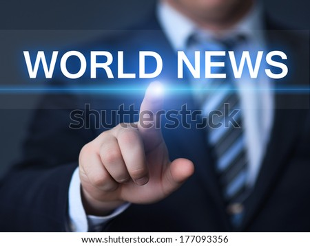 business, technology, internet and networking concept - businessman pressing world news button on virtual screens - stock photo