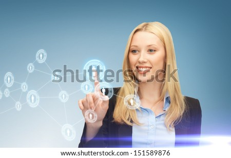 business, technology, internet and networking concept - businesswoman pressing button with contact on virtual screen - stock photo