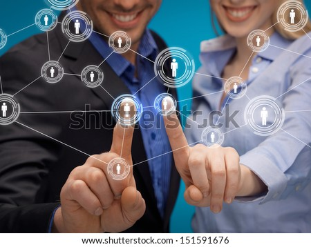business, technology, internet and networking concept - man and woman working with virtual screen - stock photo