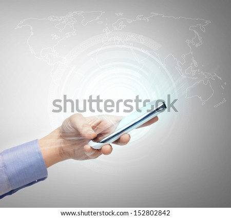 business, technology, internet and networking concept - woman hand with smartphone and virtual screen - stock photo