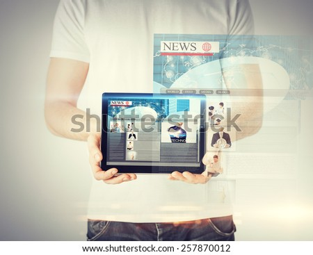 business, technology, internet and news concept - man showing tablet pc with news app - stock photo