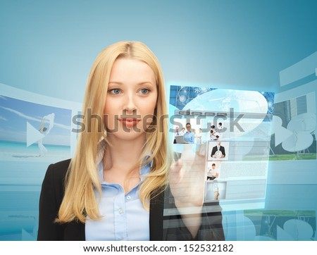 business, technology, internet and news concept - woman with virtual screen reading news - stock photo