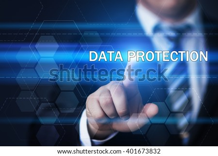 business, technology, internet and virtual reality concept - businessman pressing data protection button on virtual screens with hexagons and transparent honeycomb - stock photo