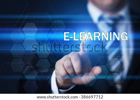 business, technology, internet and virtual reality concept - businessman pressing e-learning button on virtual screens with hexagons and transparent honeycomb - stock photo