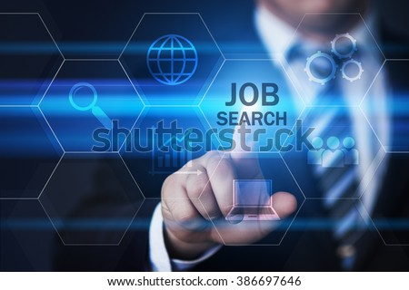 business, technology, internet and virtual reality concept - businessman pressing job search button on virtual screens with hexagons and transparent honeycomb