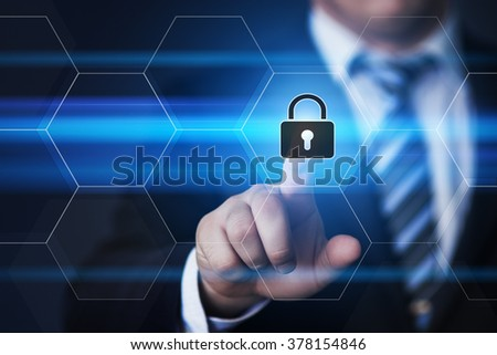 business, technology, internet and virtual reality concept - businessman pressing lock button on virtual screens with hexagons and transparent honeycomb - stock photo