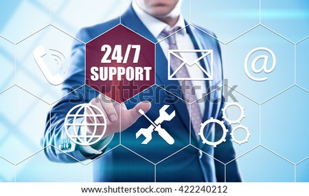 business, technology, internet and virtual reality concept - businessman pressing 24/7 support button on virtual screens with hexagons and transparent honeycomb - stock photo
