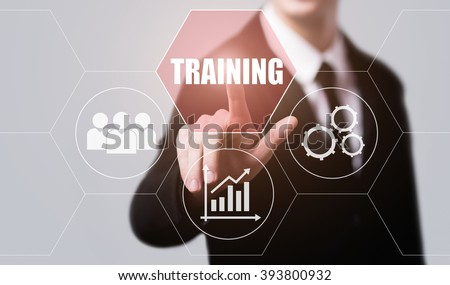 business, technology, internet and virtual reality concept - businessman pressing training button on virtual screens with hexagons and transparent honeycomb - stock photo