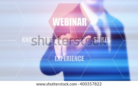 business, technology, internet and virtual reality concept - businessman pressing webinar button on virtual screens with hexagons and transparent honeycomb - stock photo