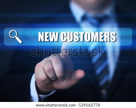 business, technology, internet concept. new customers text in search bar.