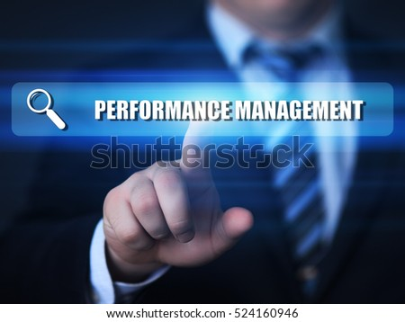 business, technology, internet concept. performance management text in search bar.