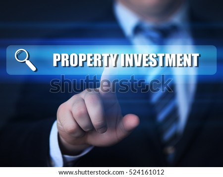 business, technology, internet concept. property investment text in search bar.