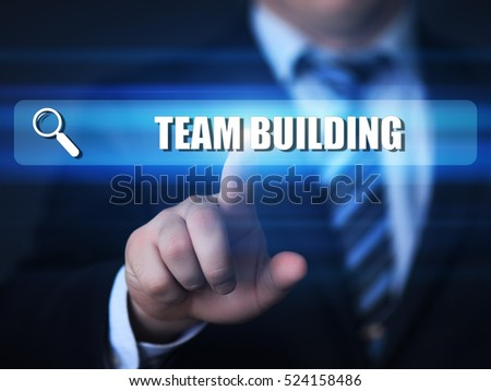 business, technology, internet concept. team building text in search bar.