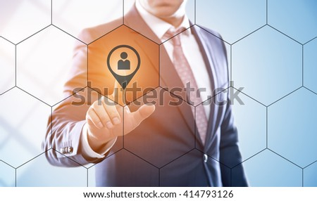business, technology, internet, segmentation and human resources concept - businessman pressing segmentation button on virtual screens with hexagons and transparent honeycomb - stock photo