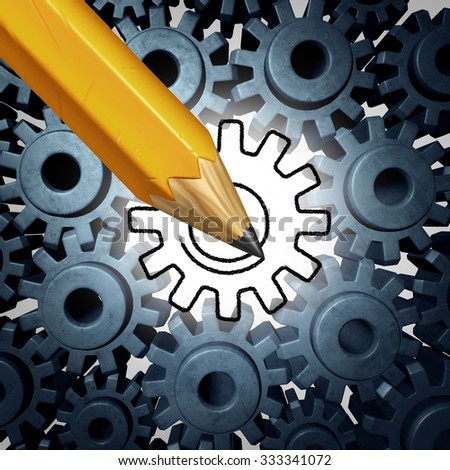 Business technology solution concept as a pencil drawing a gear to connect a group of machine cog wheels or gears as an innovation and engineering metaphor for creative industry ideas. - stock photo