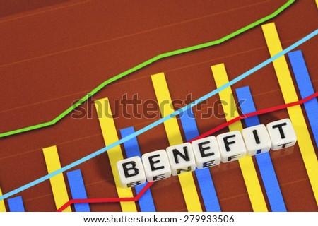 Business Term with Climbing Chart / Graph - Benefit - stock photo